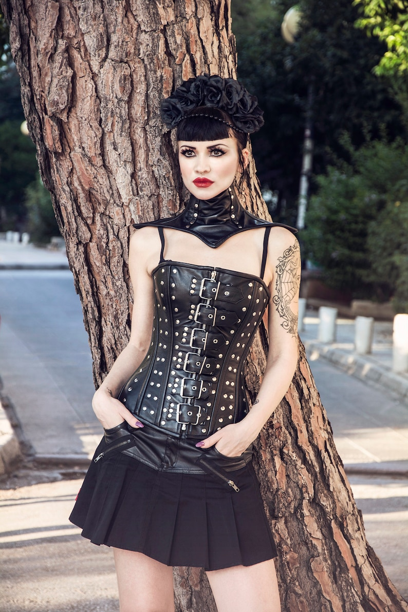4d9fa1f362 Real sheep leather steampunk style corset brown and black.