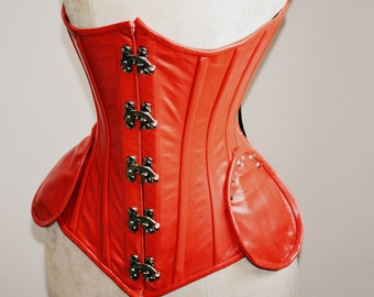 Lambskin underbust steampunk exclusive steel-boned authentic heavy corset, different colors. Real leather corset, gothic, bdsm corset