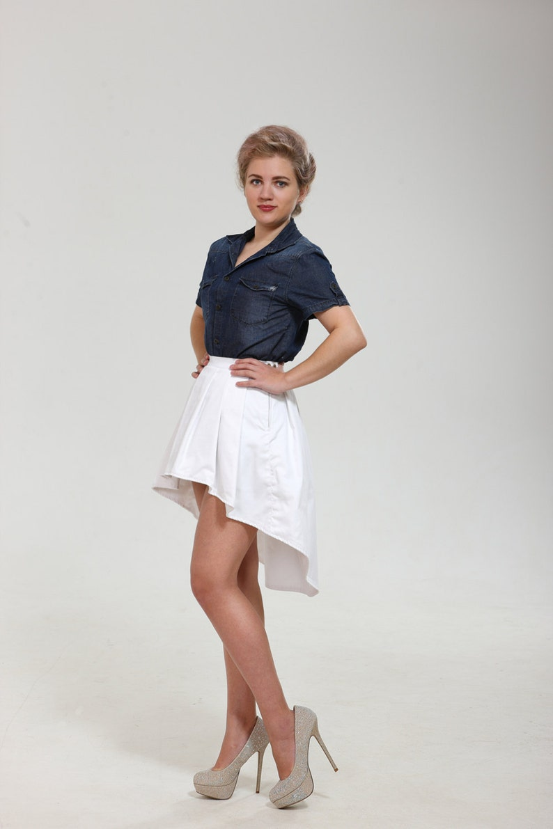 Stairs shaped mini skirt with trail from thin cotton of blue that train white Wow black or sand colors Exclusive structural design