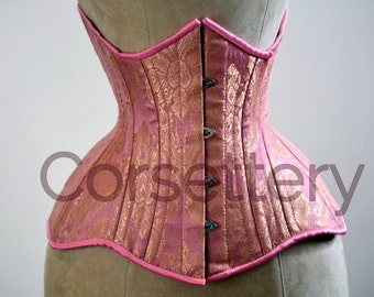 Double row steel boned underbust corset from pink and gold brocade. Real waist training corset for tight lacing. Gothic, steampunk corset