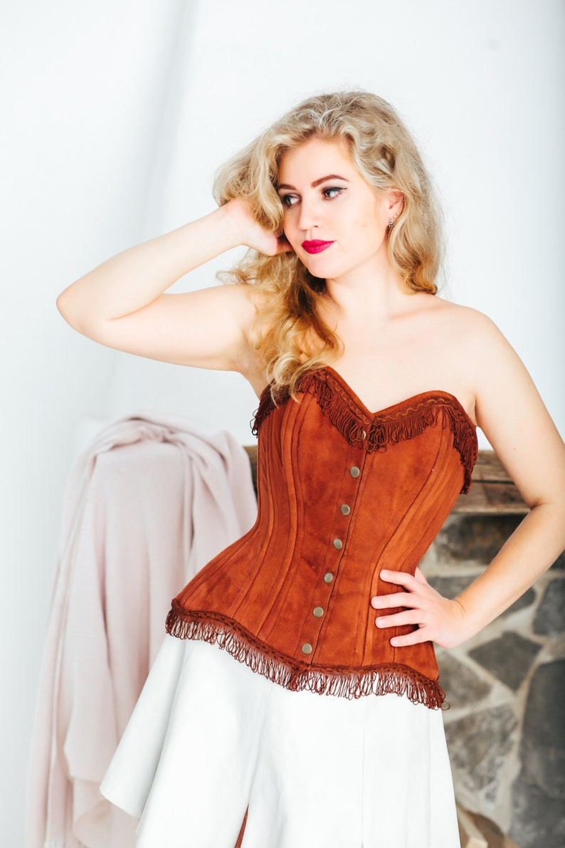 7b9ef2b7c5 Real sheep brown suede exclusive corset from Corsettery