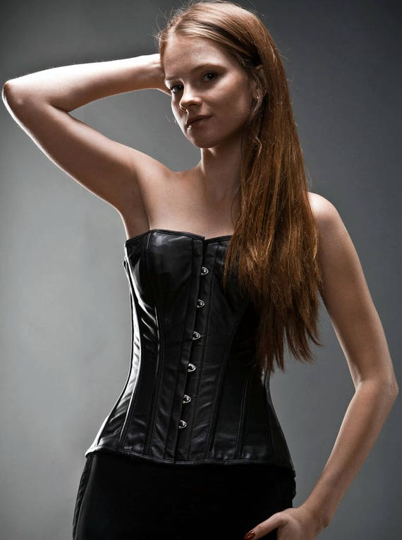 Genuine//Real Sheep Leather Long Overbust Full Steel Bone Corset Black