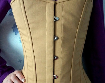 Vintage cotton steel-boned authentic heavy corset, different colors. Gothic, steampunk, historical Victorian, prom corset