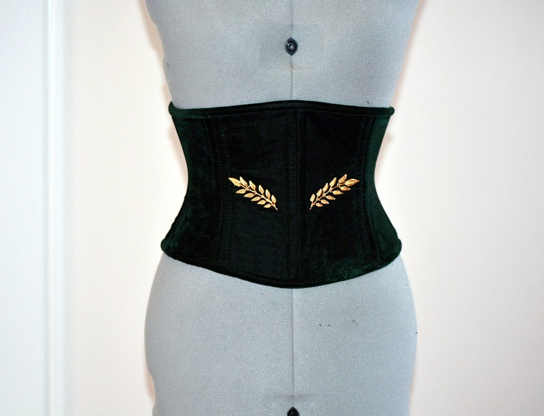 a061f95f1 Dark green velvet corset in the Golden Hollywood style two