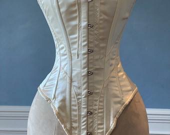Historical satin corset: Edwardian overbust corset. Steelbone custom made corset, renaissance, gothic, steampunk, bespoke, victorian