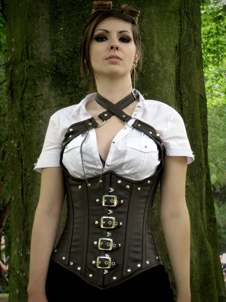 36ef0e5d2d Real sheep leather steampunk style corset with metal decor