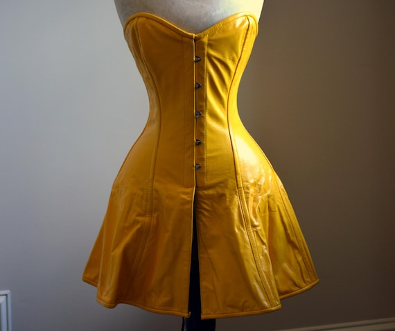 Exclusive Long Leather Corset Dress Yellow Black Brown Etsy