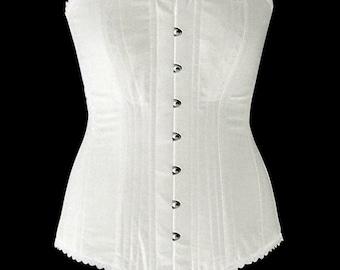 Authentic cotton corset: vintage cotton overbust corset, black or white. Steelbone custom made corset, gothic, steampunk, bespoke, victorian