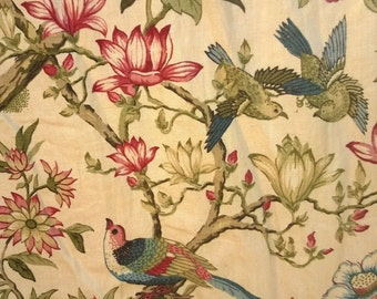 4 lge Curtains French Indienne Block Printed Fabric 4 drops c 1750-1780