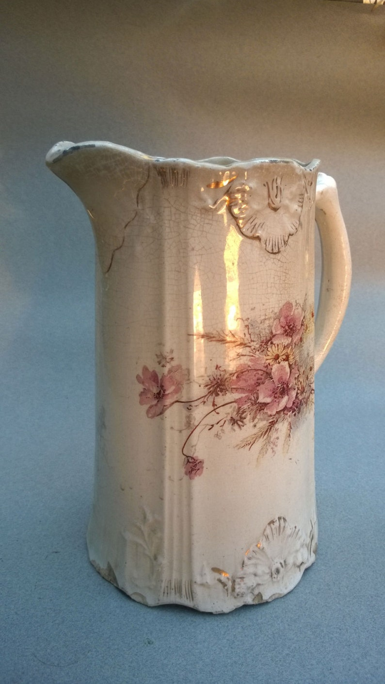 French Porcelain Pitcher C1750s-1800s hand-thrown and hand-painted wild flowers