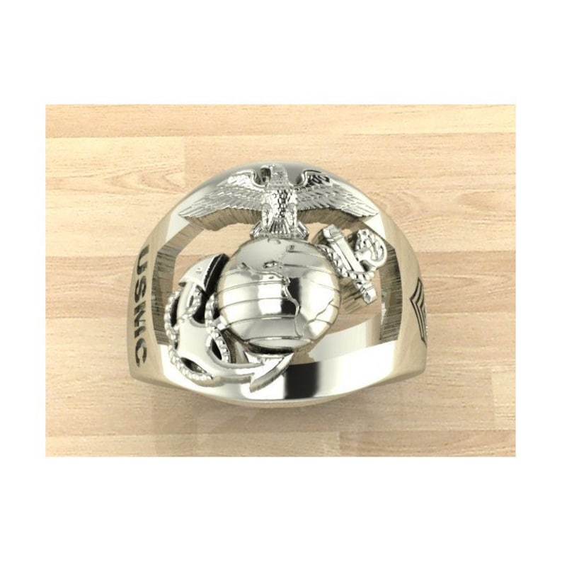 Continuum Sterling Silver Marine Corps Ring with Rank on the side