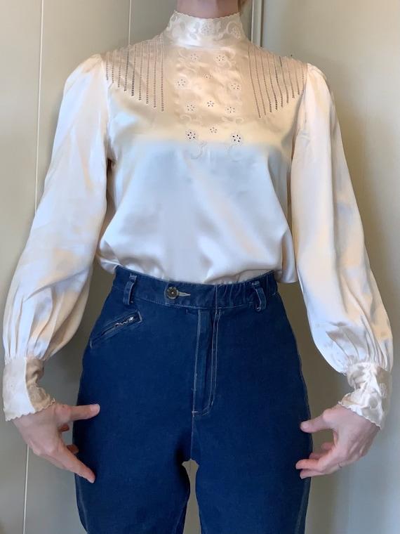White silk victorian style shirt