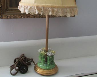 One Boudoir lamp,Capodimonte Porcelain Roses/Forget-me-nots, 1940s, Tambour Lace, Ribbon work , Silk Shade