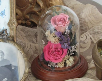 Roses under a glass dome....real pink roses!
