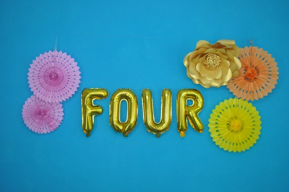 FOUR  Number 4 Balloon Letters and Numbers 16  40 cm foil Rose Gold Silver Balloons  Birthday Balloons Banner  Fourth Birthday