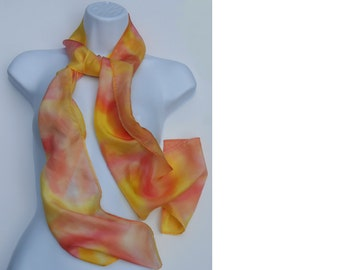 Yellow and Orange Hand Dyed Silk Scarf