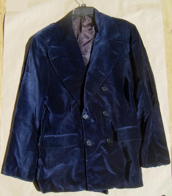 Blue Velvet double breasted 1960's Mod style men's