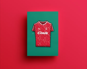 e07bcbfa2 Liverpool FC 1989-91 Home adidas Candy Kit Shirt Illustrated Poster Print