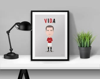 Nemanja Vidic Manchester United Illustrated Poster Print | A6 A5 A4 A3