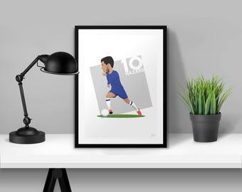Eden Hazard Chelsea  |  Chelsea FC Illustrated Poster Print   |   A5 A4 A3