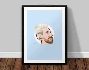 Lionel Messi Illustrated Poster Print | A6 A5 A4 A3