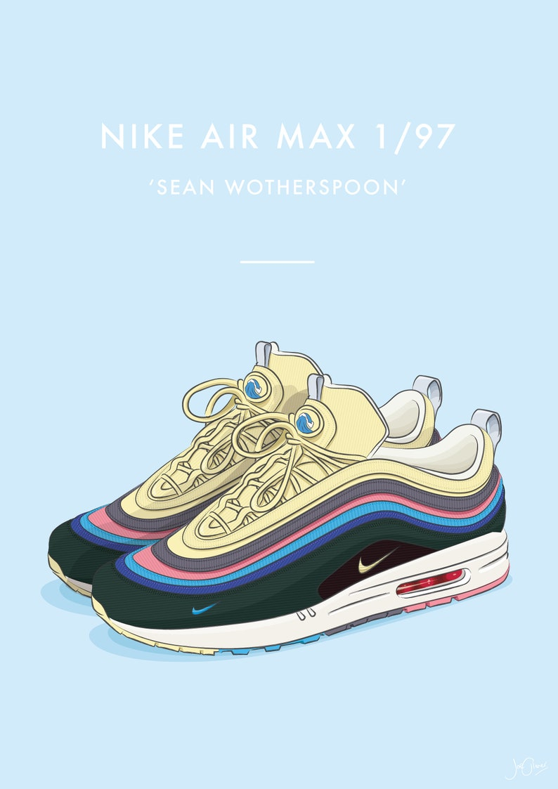 40e5cf441e Nike Air Max 1/97 Sean Wotherspoon Trainers Illustrated | Etsy