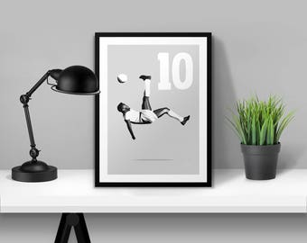 Pele Illustrated Poster Print | A6 A5 A4 A3