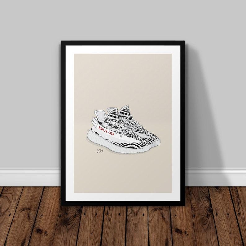 47b2a64c107b4 Yeezy Boost 350 v2 Zebra Illustrated Poster Print A6 A5 A4