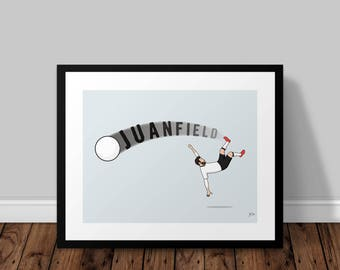 Juanfield Manchester United Juan Mata Illustrated Poster Print | A6 A5 A4 A3