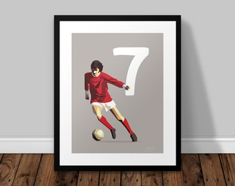George Best  |  Manchester United Illustrated Poster Print   |   A5 A4 A3