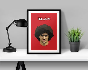 Marouane Fellaini Manchester United Illustrated Poster Print | A6 A5 A4 A3