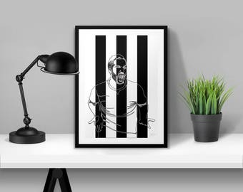 Gonzalo Higuain Juventus Illustrated Poster Print | A6 A5 A4 A3
