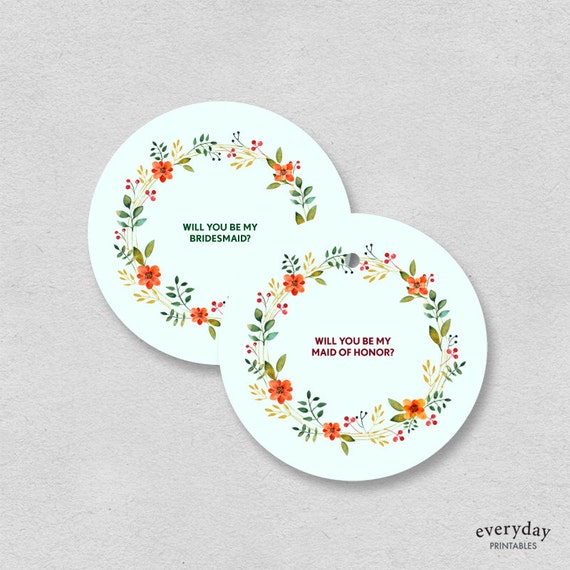 Bridesmaid Maid of honor card printable gift tag label will you be my bridesmaid Mint seafoam floral bridal label gift circular sticker