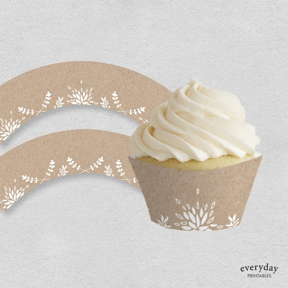 graphic regarding Printable Cupcakes named Printable cupcake wrappers kraft birthday bridal shower boy or girl shower occasion cupcake wraps white bouquets winter season topic fast obtain