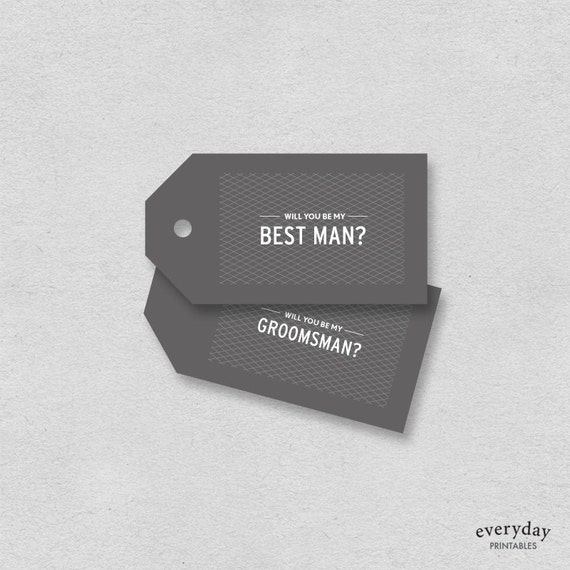 image relating to Printable Man Card named Suitable guy card Groomsman card printable reward tag will by yourself be my ideal gentleman  Manly minimalist very simple gray undeniable interesting typography label present