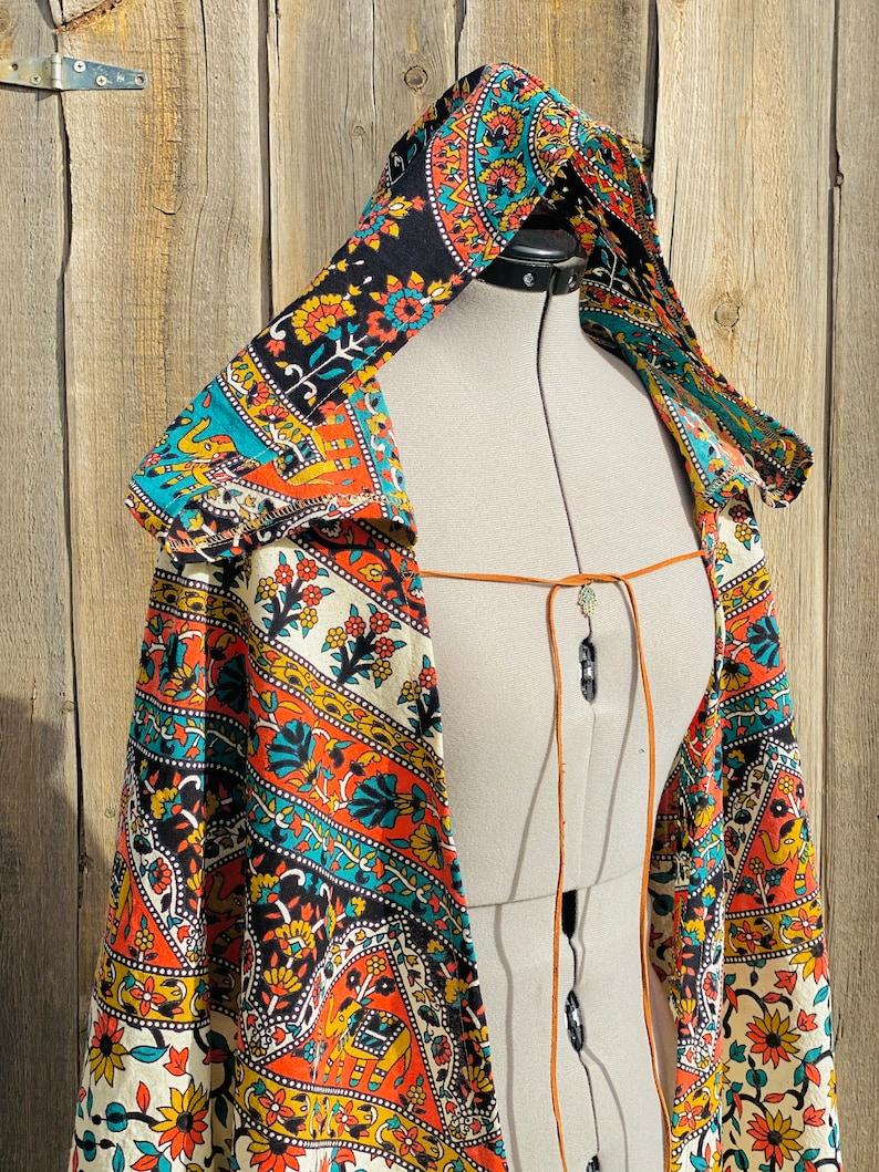 Bedouin Cloak,Henna Mendhi art cape India Vintage hand dyed material Boho Festival cloak,Belly Dancer Romany Renaissance Festival cape