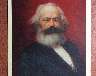 Vintage Soviet Russian postcard 1967 Karl Marx Artist Rzheznikov Speech German philosophers KARL MARX on Congress I International HAGUE