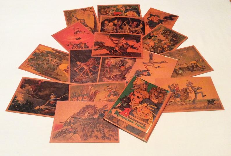 Ultra Rare Old Russian Ful Set 16 postcards 1962 Wizard of Oz Iron robot spider/'s web straw man Strashila Vladimirsky Tin Woodman Mermaid