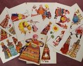 Russian folk costume XIX century. Russian woman. Harmonic. Slavic culture. Kokoshnik. RARE Full Set 12 Russian postcards 1966 by GORDEEVA.