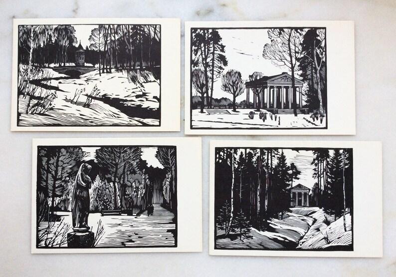 Russia Pavlovsky park Pavilion Three Graces Venus Callipyga Vintage Full Set 12 Russian USSR postcards 1969 Engravings by USHIN Apollo
