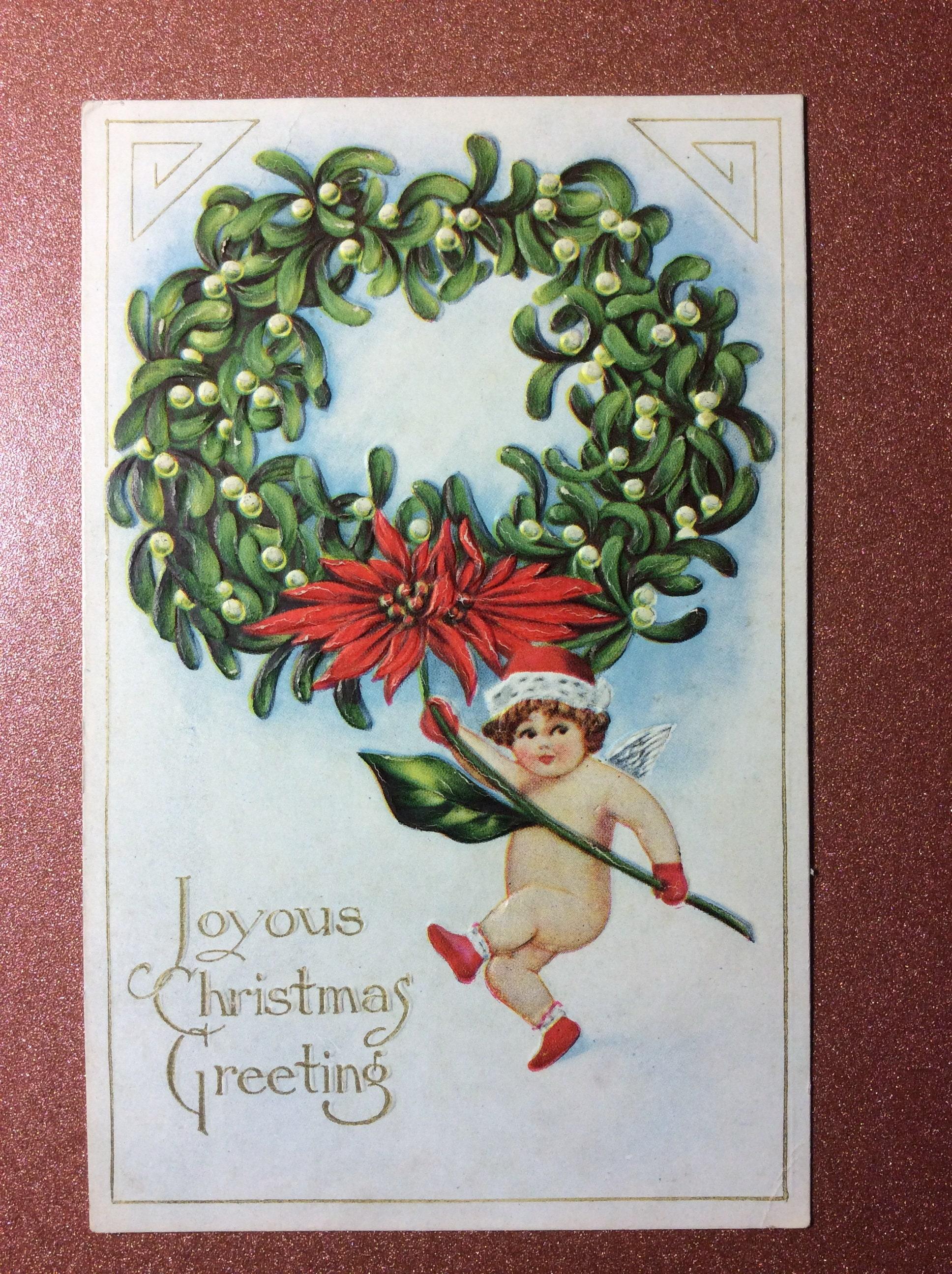 Antique Art Nouveau Christmas Embossed unused postcard 1908 | Etsy