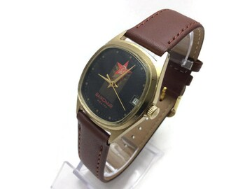 Unique Vintage Soviet mechanical GOLD plated Au mens minimalistic watch Flight Pojot 2614.2H BAYKONUR Azia-TV New leather strap Gift for him