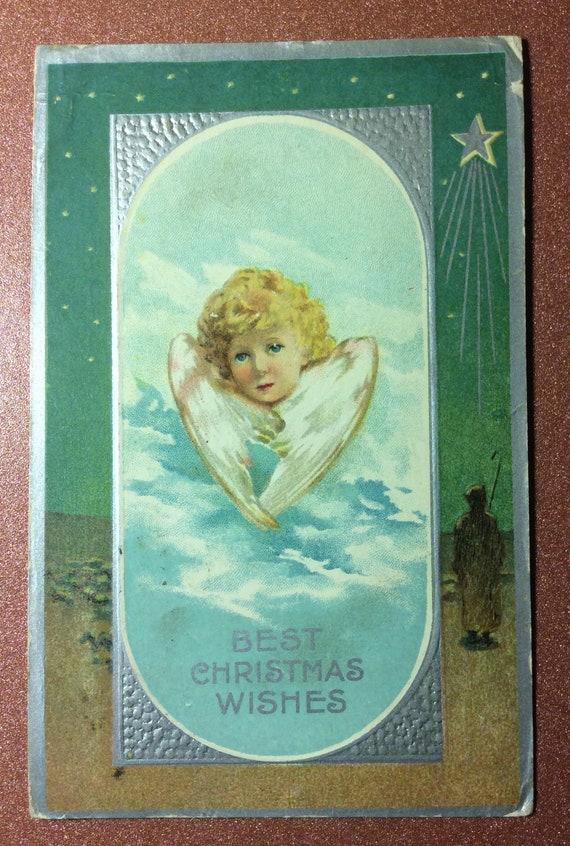 Antique Art Nouveau Christmas Embossed postcard 1911 Charming | Etsy