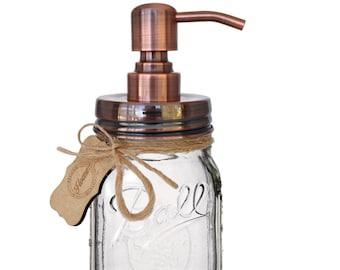 Iconic Ball Mason Jar Soap Dispenser - Premium Rustproof Stainless Steel, Includes 16 oz Regular Mouth Mason Jar (Clear Jar, Copper Pump)