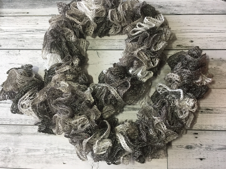 Handmade Crocheted Fashion Ruffle Scarf White