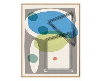 Blue Abstract Mid-Century Modern  | Giclée Art Print | 308gsm Hahnemühle fine art paper