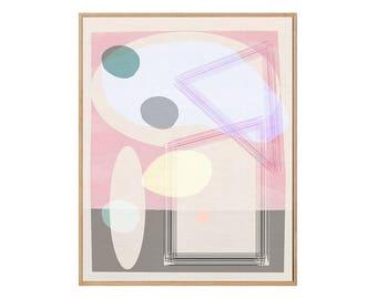 Abstract Pink | Mid-Century Modern  | Giclée Art Print | 308gsm Hahnemühle fine art paper