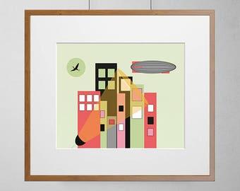 Childrens Cityscape Blimp  | Giclée Print | 308gsm Hahnemühle fine art paper