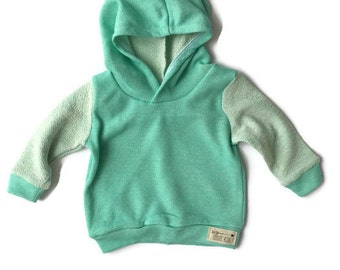 Ready to Ship Mint French Terry Hoodie for Baby and Toddler 6-9 Months
