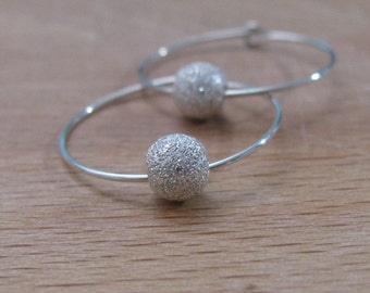 Silver hoop earrings, ball earrings, silver earrings, hoop earrings, bead earrings, hoop earring, sterling silver